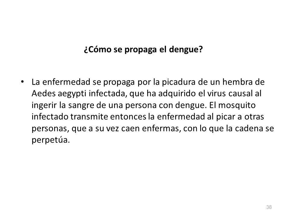 ¿Cómo se propaga el dengue? La enfermedad se propaga por la picadura de un hembra de Aedes aegypti infectada, que ha adquirido el virus causal al inge