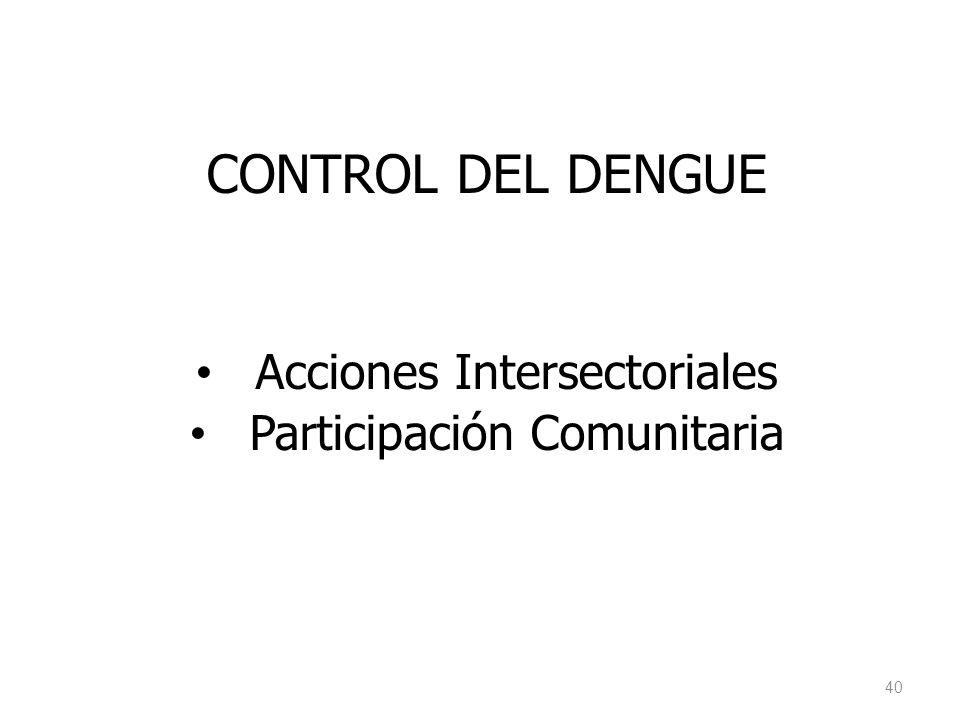 CONTROL DEL DENGUE Acciones Intersectoriales Participación Comunitaria 40