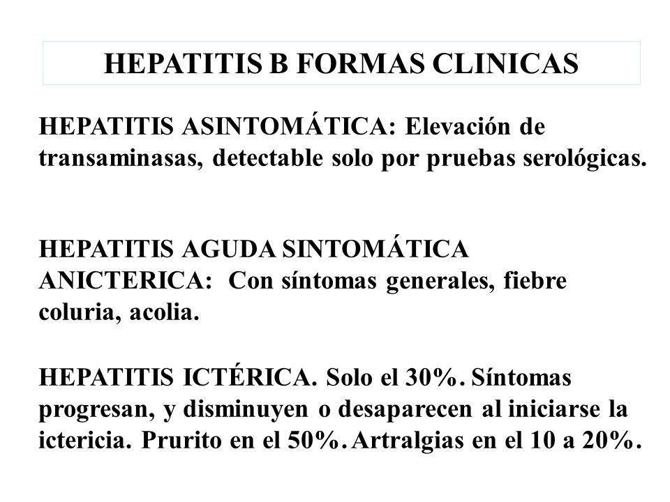 HEPATITIS ICTÉRICA. Solo el 30%. Síntomas progresan, y disminuyen o desaparecen al iniciarse la ictericia. Prurito en el 50%. Artralgias en el 10 a 20