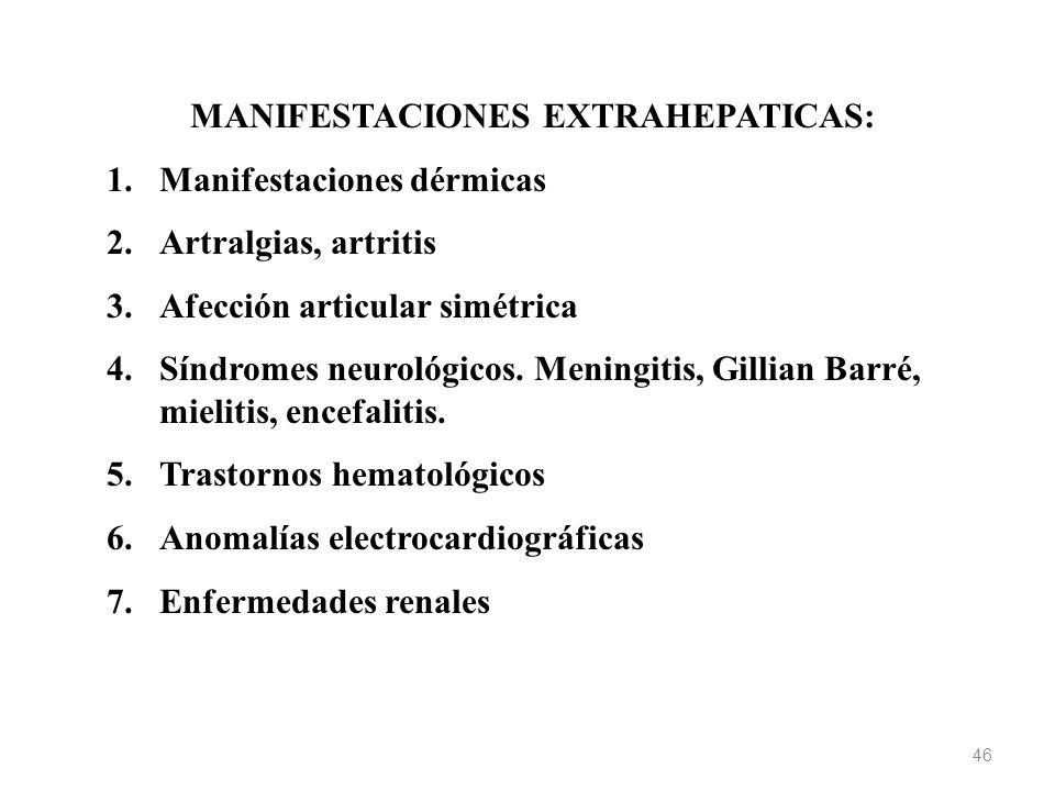 MANIFESTACIONES EXTRAHEPATICAS: 1.Manifestaciones dérmicas 2.Artralgias, artritis 3.Afección articular simétrica 4.Síndromes neurológicos. Meningitis,