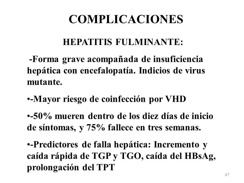 COMPLICACIONES HEPATITIS FULMINANTE: -Forma grave acompañada de insuficiencia hepática con encefalopatía. Indicios de virus mutante. -Mayor riesgo de