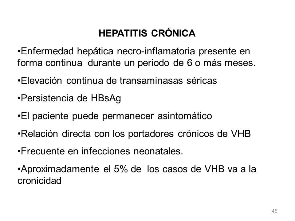 HEPATITIS CRÓNICA Enfermedad hepática necro-inflamatoria presente en forma continua durante un periodo de 6 o más meses. Elevación continua de transam