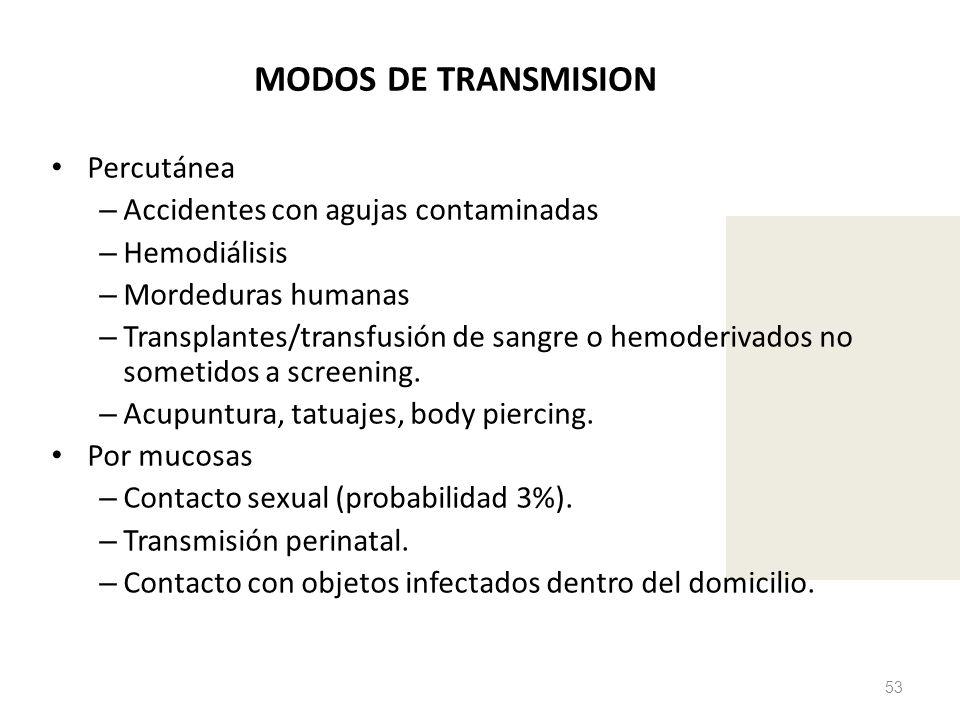 MODOS DE TRANSMISION Percutánea – Accidentes con agujas contaminadas – Hemodiálisis – Mordeduras humanas – Transplantes/transfusión de sangre o hemode