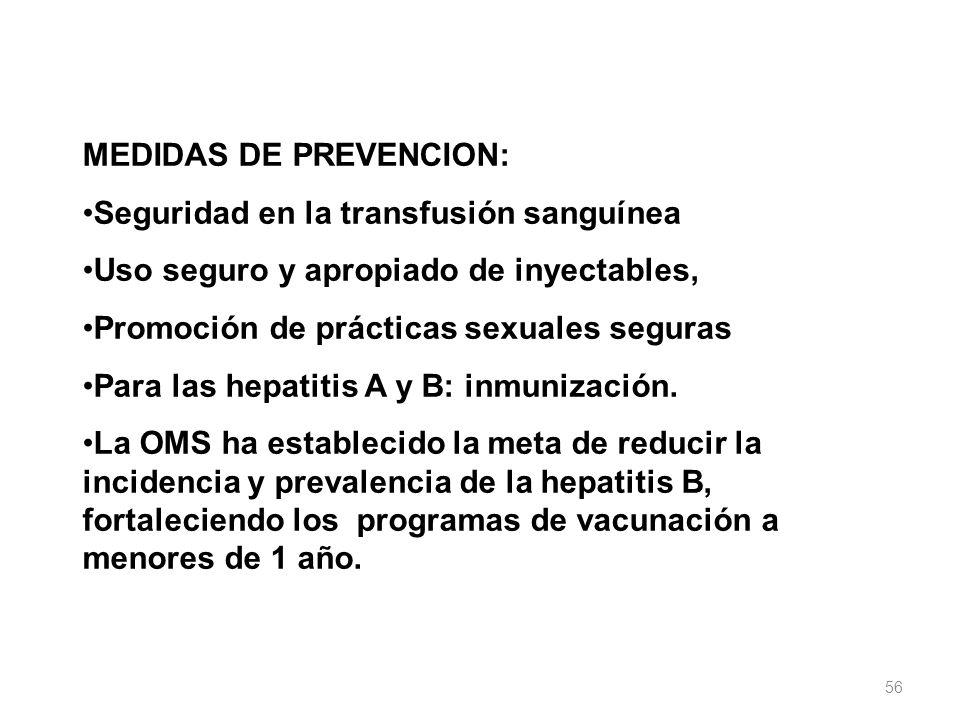 MEDIDAS DE PREVENCION: Seguridad en la transfusión sanguínea Uso seguro y apropiado de inyectables, Promoción de prácticas sexuales seguras Para las h