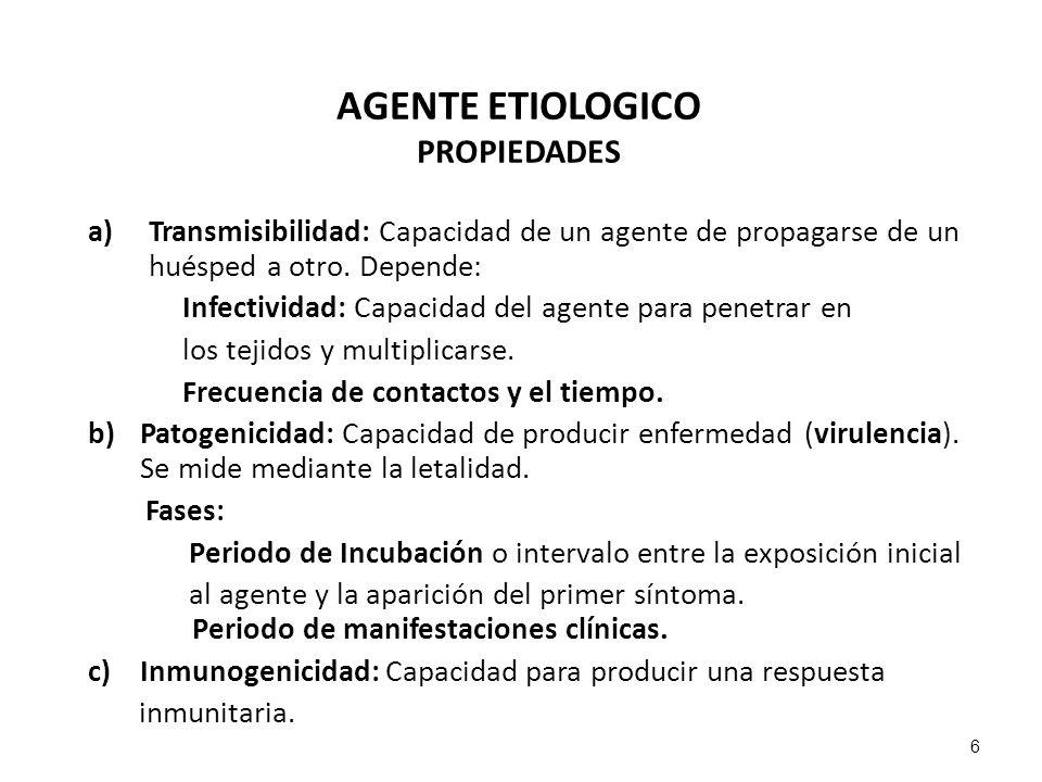 AGENTE ETIOLOGICO PROPIEDADES a)Transmisibilidad: Capacidad de un agente de propagarse de un huésped a otro. Depende: Infectividad: Capacidad del agen
