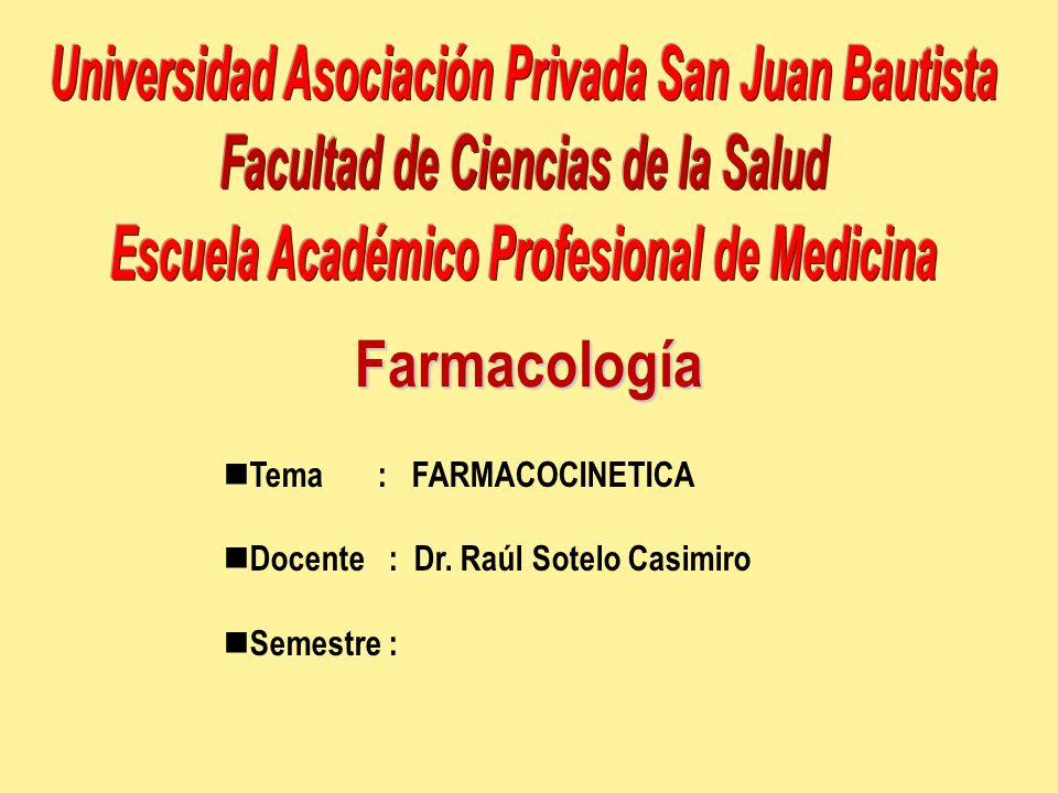 Farmacología Tema : FARMACOCINETICA Docente : Dr. Raúl Sotelo Casimiro Semestre :