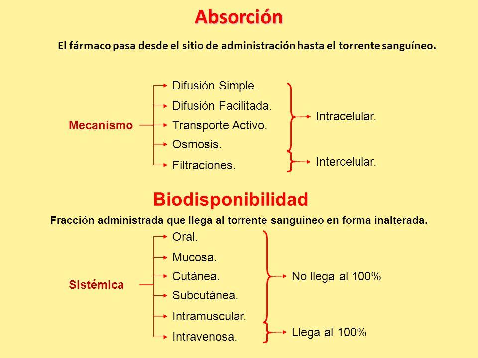 Absorción El fármaco pasa desde el sitio de administración hasta el torrente sanguíneo.