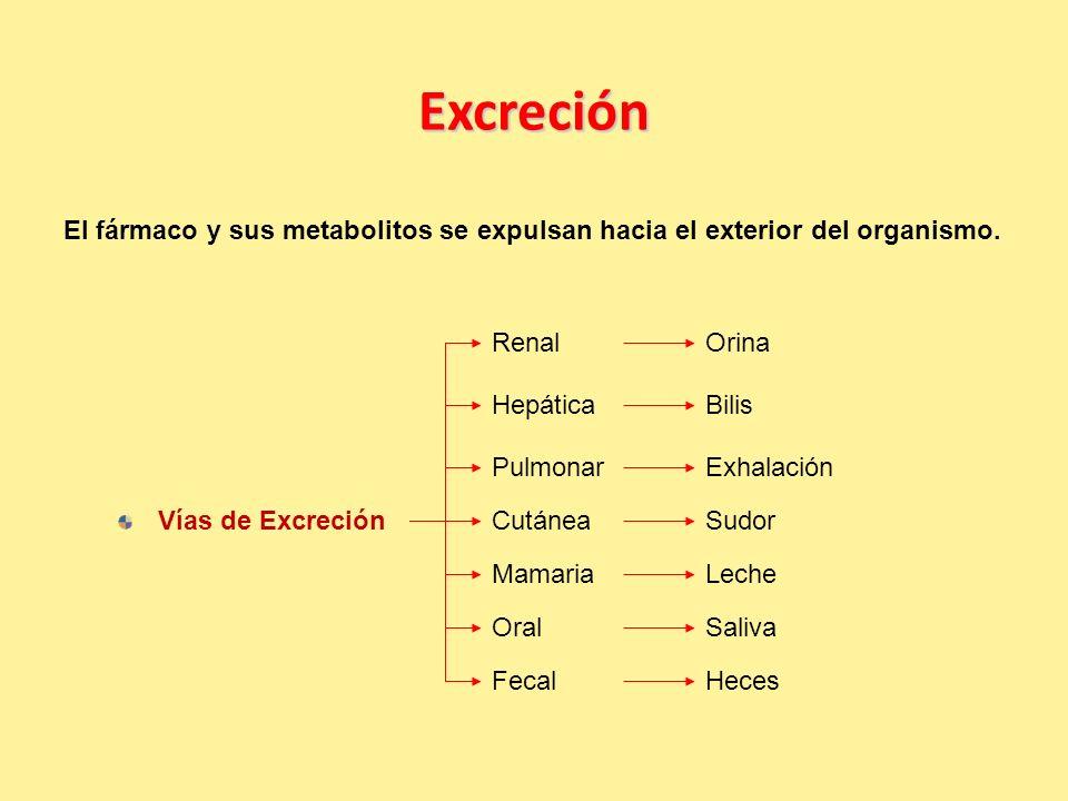 Excreción El fármaco y sus metabolitos se expulsan hacia el exterior del organismo.