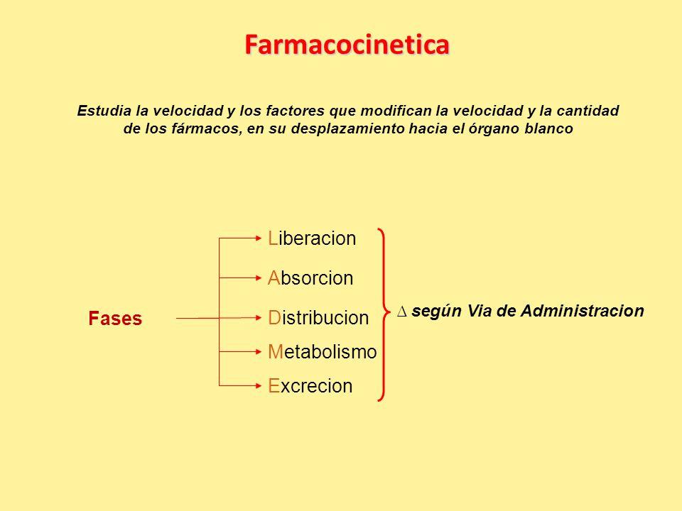 Farmacocinetica Estudia la velocidad y los factores que modifican la velocidad y la cantidad de los fármacos, en su desplazamiento hacia el órgano blanco Fases según Via de Administracion Metabolismo Distribucion Liberacion Absorcion Excrecion