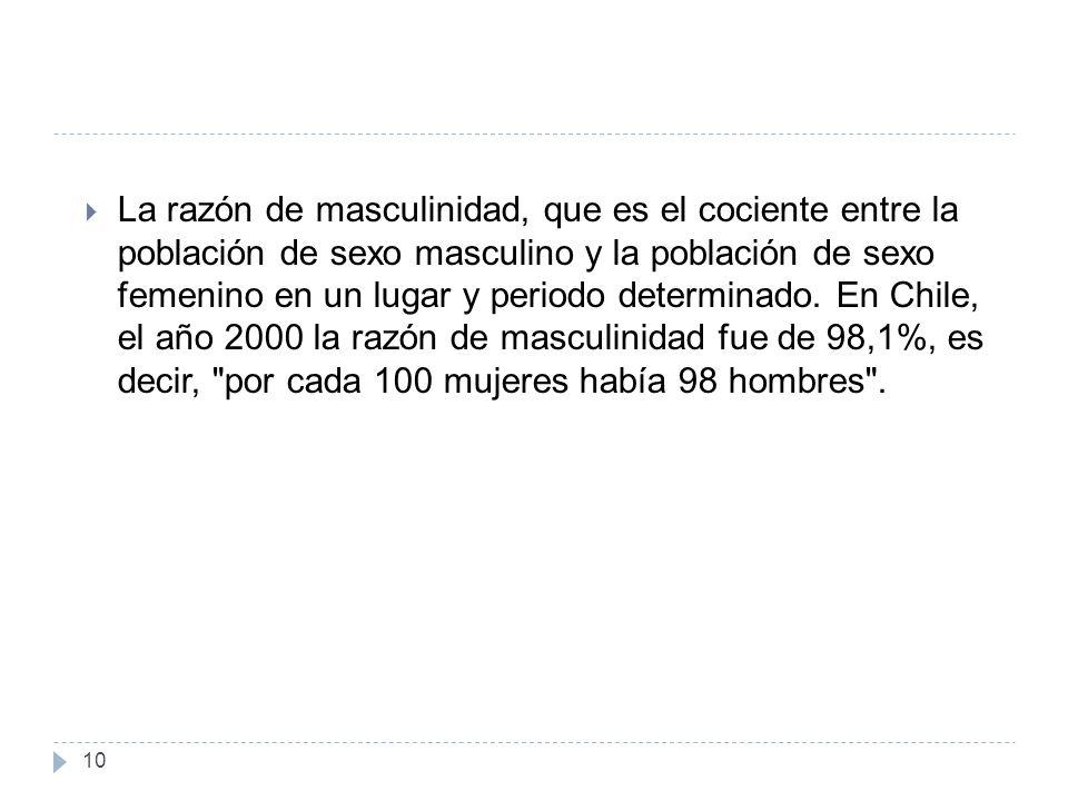 10 La razón de masculinidad, que es el cociente entre la población de sexo masculino y la población de sexo femenino en un lugar y periodo determinado.