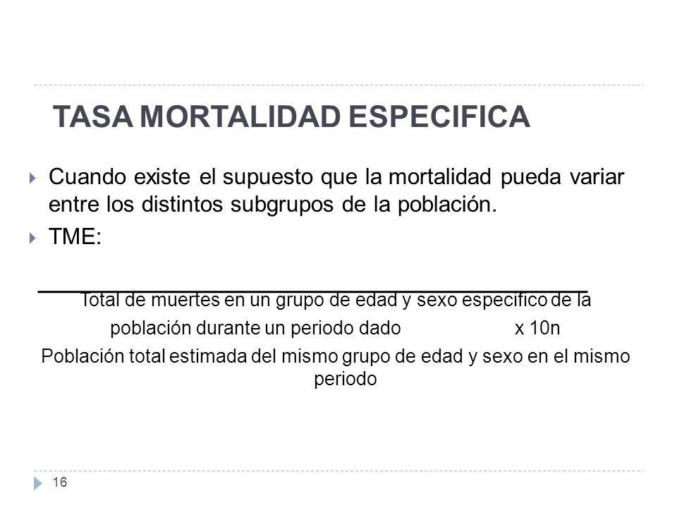 TASA MORTALIDAD ESPECIFICA 16 Cuando existe el supuesto que la mortalidad pueda variar entre los distintos subgrupos de la población.