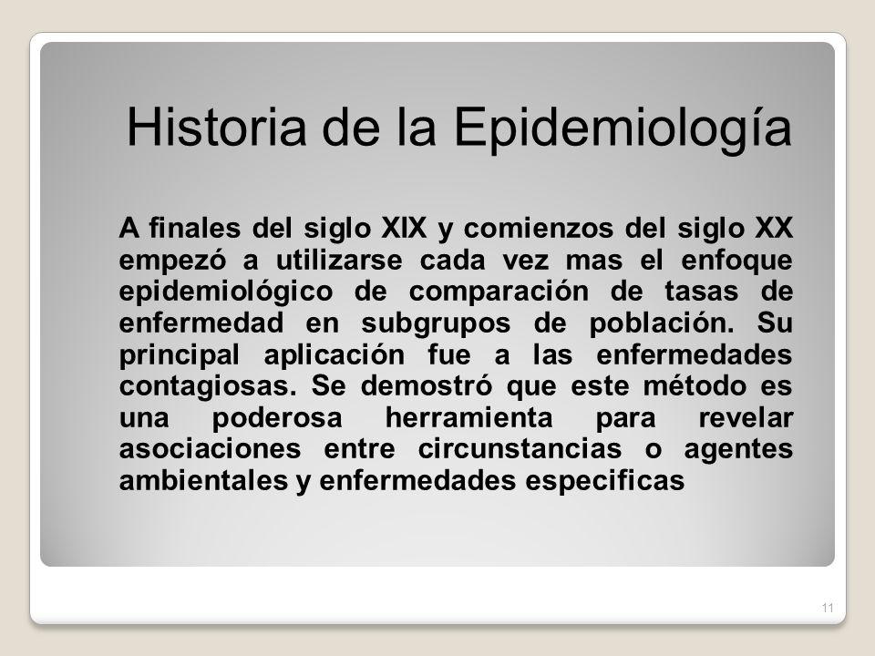A finales del siglo XIX y comienzos del siglo XX empezó a utilizarse cada vez mas el enfoque epidemiológico de comparación de tasas de enfermedad en subgrupos de población.