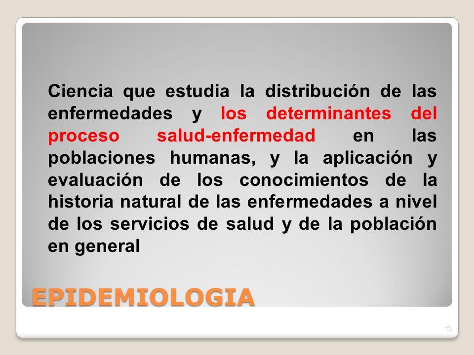 EPIDEMIOLOGIA 19 Ciencia que estudia la distribución de las enfermedades y los determinantes del proceso salud-enfermedad en las poblaciones humanas, y la aplicación y evaluación de los conocimientos de la historia natural de las enfermedades a nivel de los servicios de salud y de la población en general