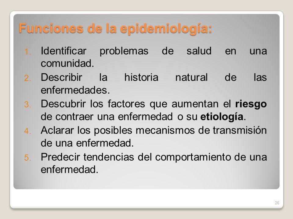 Funciones de la epidemiología: 1. Identificar problemas de salud en una comunidad. 2. Describir la historia natural de las enfermedades. 3. Descubrir