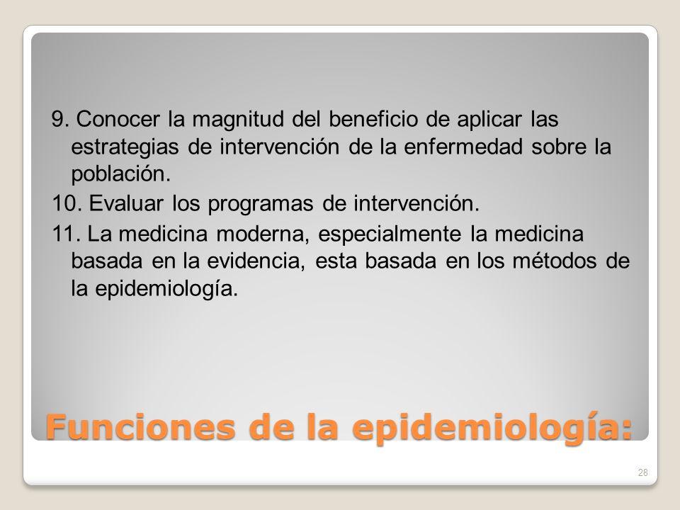 Funciones de la epidemiología: 9. Conocer la magnitud del beneficio de aplicar las estrategias de intervención de la enfermedad sobre la población. 10