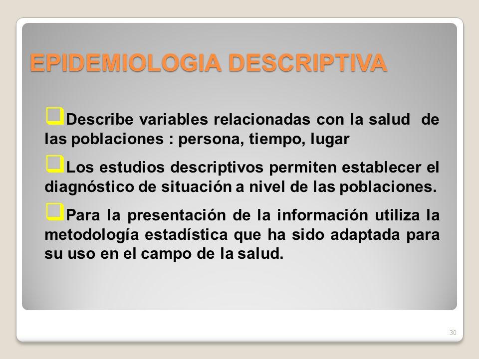 EPIDEMIOLOGIA DESCRIPTIVA 30 Describe variables relacionadas con la salud de las poblaciones : persona, tiempo, lugar Los estudios descriptivos permiten establecer el diagnóstico de situación a nivel de las poblaciones.