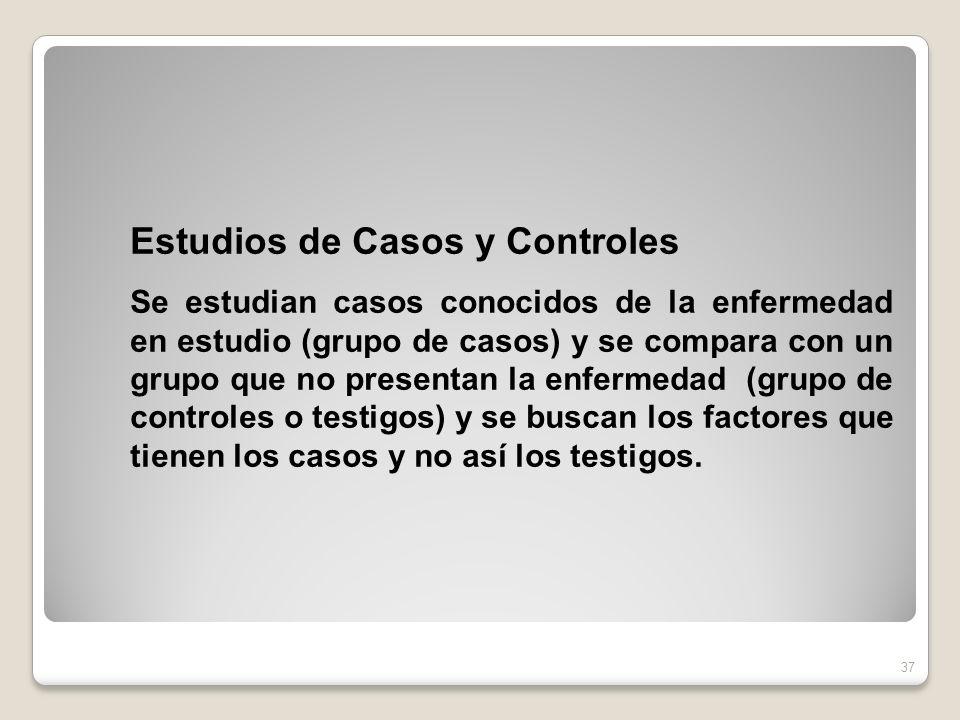 Estudios de Casos y Controles Se estudian casos conocidos de la enfermedad en estudio (grupo de casos) y se compara con un grupo que no presentan la e