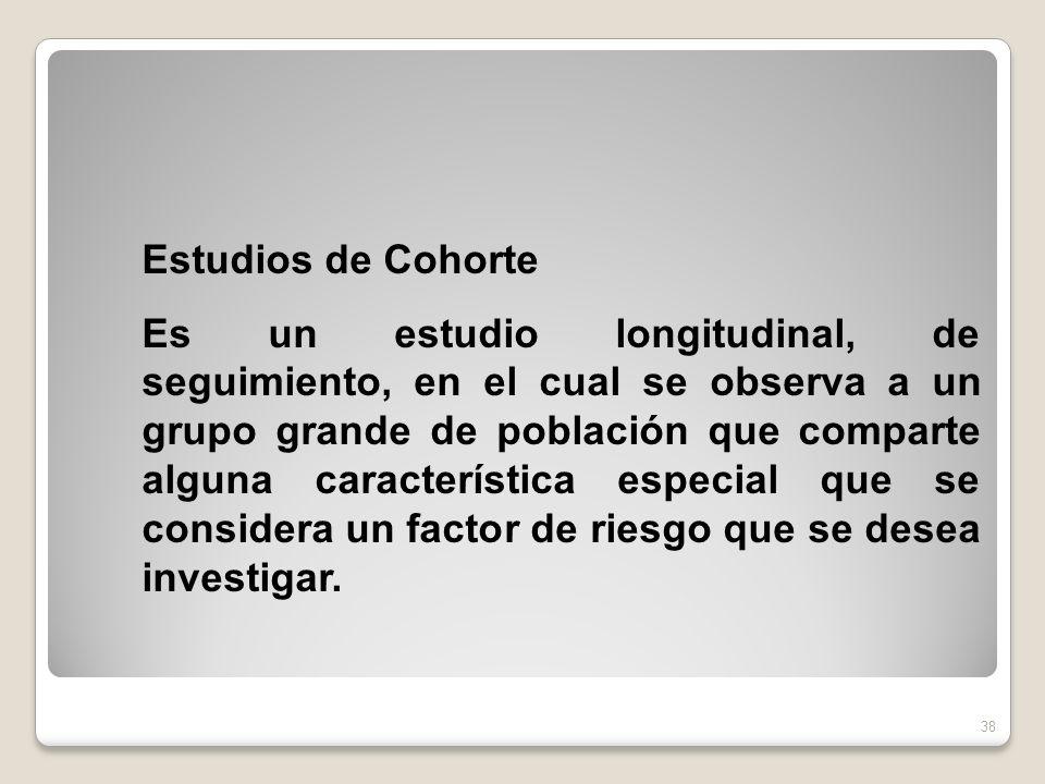 Estudios de Cohorte Es un estudio longitudinal, de seguimiento, en el cual se observa a un grupo grande de población que comparte alguna característic
