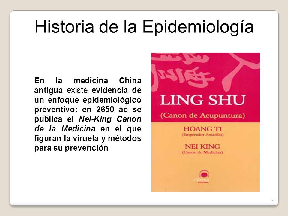 En la medicina China antigua existe evidencia de un enfoque epidemiológico preventivo: en 2650 ac se publica el Nei-King Canon de la Medicina en el que figuran la viruela y métodos para su prevención Historia de la Epidemiología 4