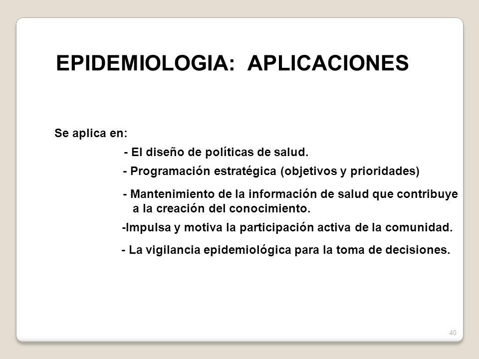 40 Se aplica en: - El diseño de políticas de salud. - Programación estratégica (objetivos y prioridades) - Mantenimiento de la información de salud qu