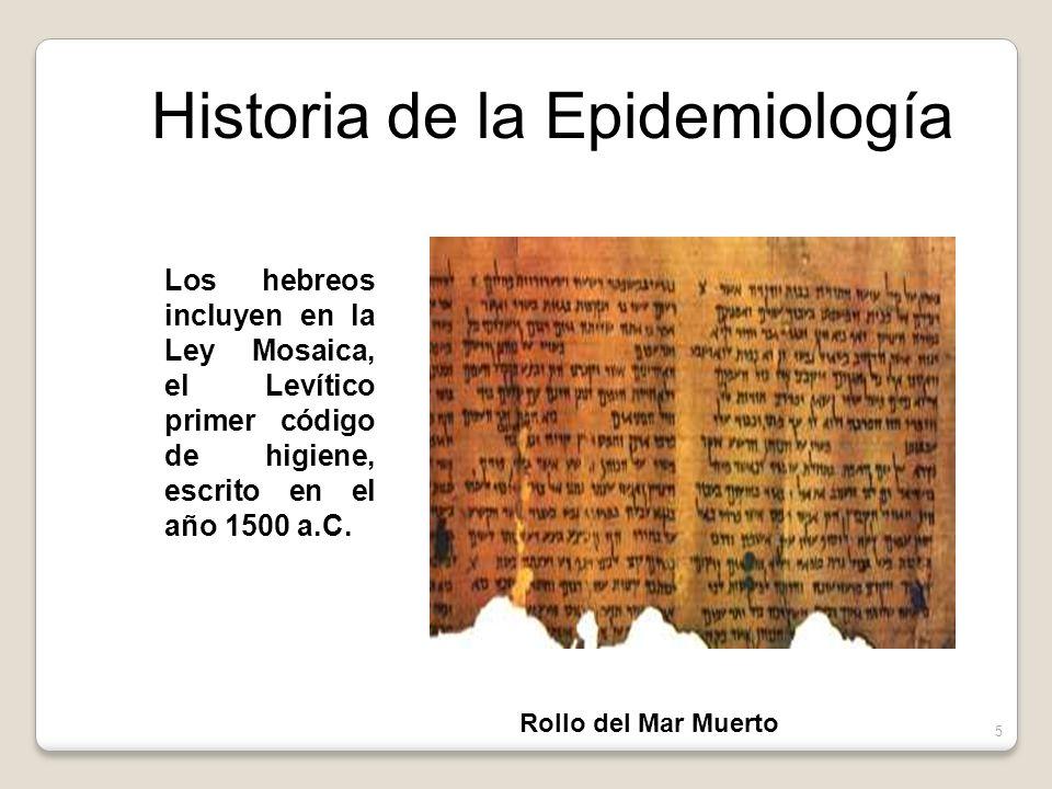 Los hebreos incluyen en la Ley Mosaica, el Levítico primer código de higiene, escrito en el año 1500 a.C.