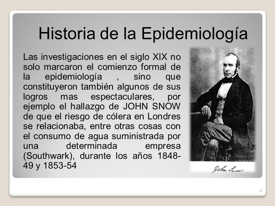 Las investigaciones en el siglo XIX no solo marcaron el comienzo formal de la epidemiología, sino que constituyeron también algunos de sus logros mas
