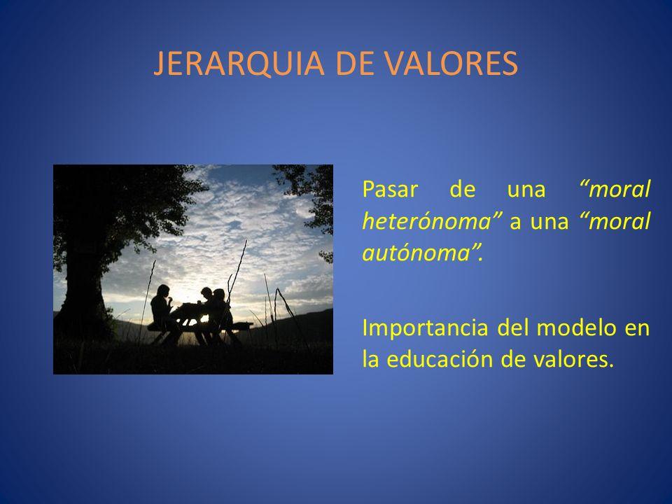 JERARQUIA DE VALORES Pasar de una moral heterónoma a una moral autónoma. Importancia del modelo en la educación de valores.