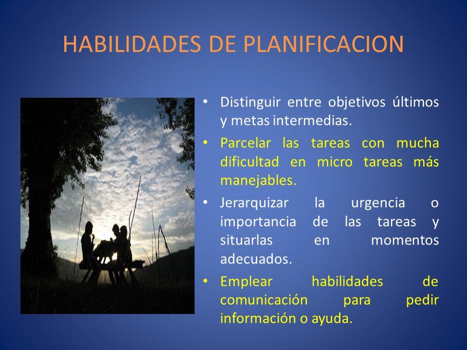 HABILIDADES DE PLANIFICACION Distinguir entre objetivos últimos y metas intermedias. Parcelar las tareas con mucha dificultad en micro tareas más mane