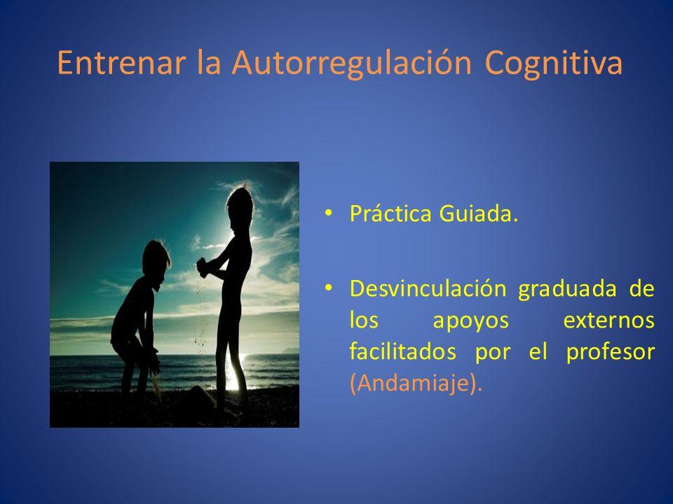 Entrenar la Autorregulación Cognitiva Práctica Guiada. Desvinculación graduada de los apoyos externos facilitados por el profesor (Andamiaje).