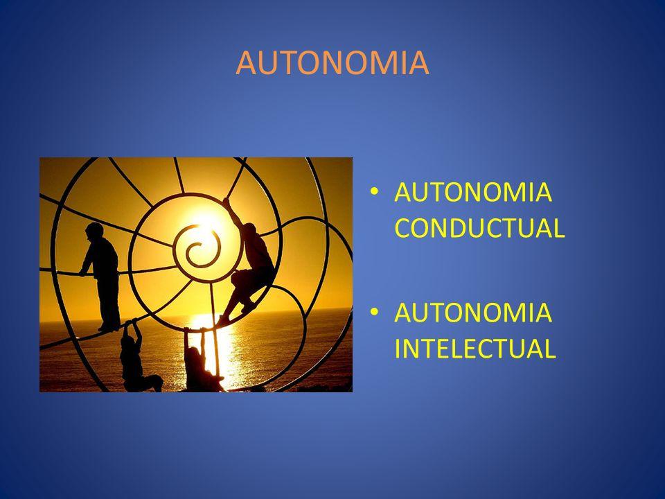 AUTONOMIA AUTONOMIA CONDUCTUAL AUTONOMIA INTELECTUAL