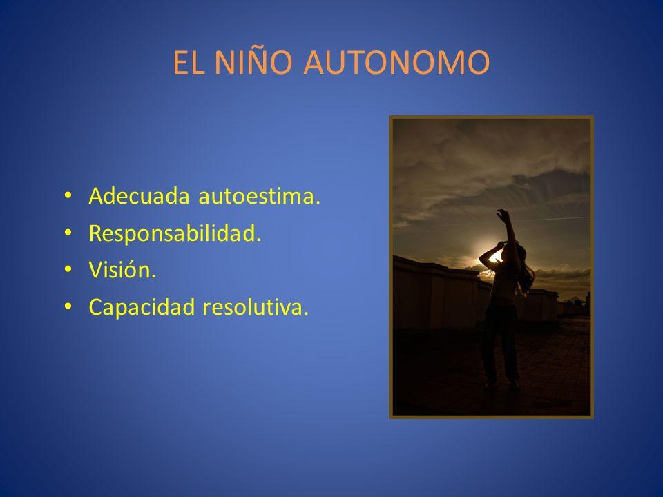 EL NIÑO AUTONOMO Adecuada autoestima. Responsabilidad. Visión. Capacidad resolutiva.