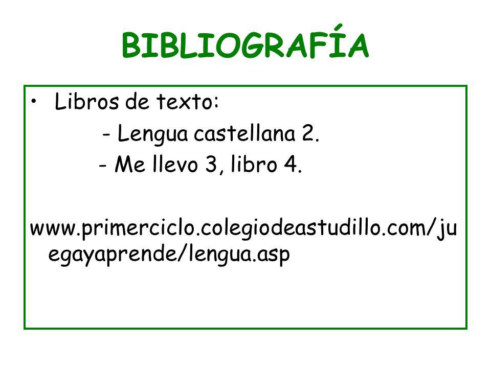 BIBLIOGRAFÍA Libros de texto: - Lengua castellana 2. - Me llevo 3, libro 4. www.primerciclo.colegiodeastudillo.com/ju egayaprende/lengua.asp