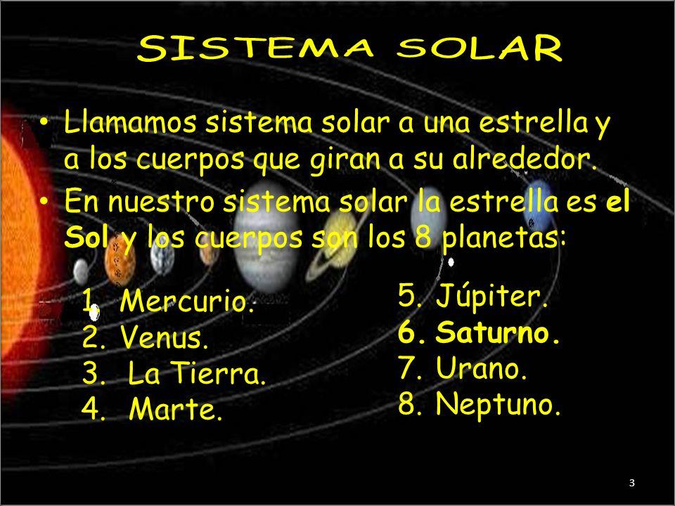 EL SOL Y LA TIERRA El sol es una estrella y el centro del Sistema Solar Los planetas son. Mercurio, Venus, Tierra, Marte, Júpiter, Saturno, Urano, y N