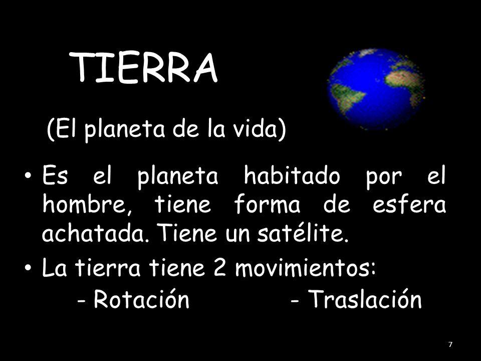 (El planeta de la vida) Es el planeta habitado por el hombre, tiene forma de esfera achatada.