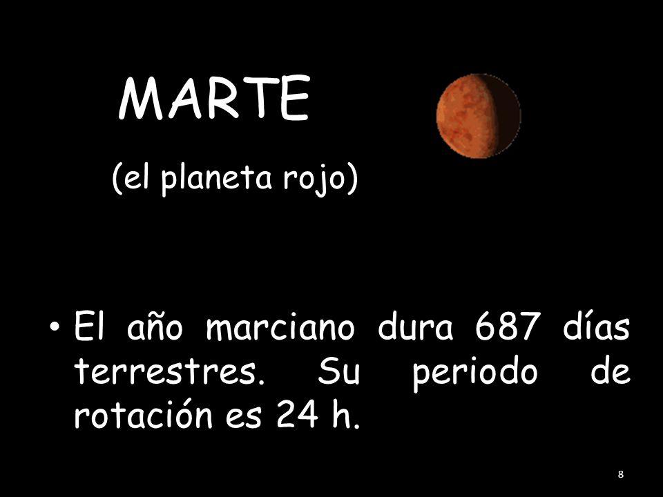 (el planeta rojo) El año marciano dura 687 días terrestres. Su periodo de rotación es 24 h. 8 MARTE