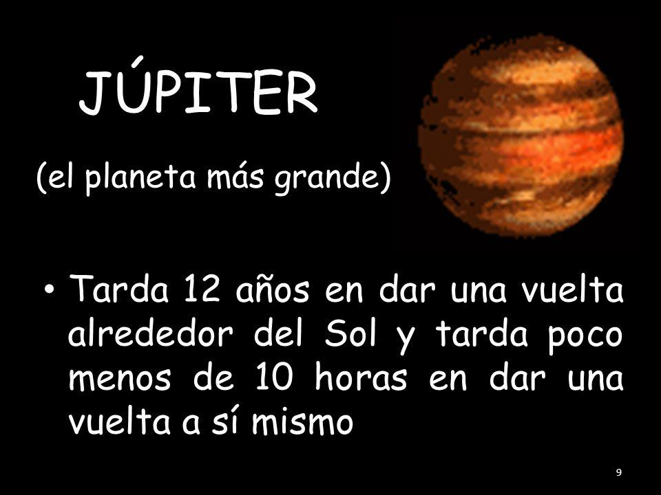 (el planeta más grande) Tarda 12 años en dar una vuelta alrededor del Sol y tarda poco menos de 10 horas en dar una vuelta a sí mismo 9 JÚPITER