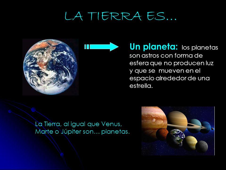 La Tierra, al igual que Venus, Marte o Júpiter son… planetas. Un planeta: l os planetas son astros con forma de esfera que no producen luz y que se mu