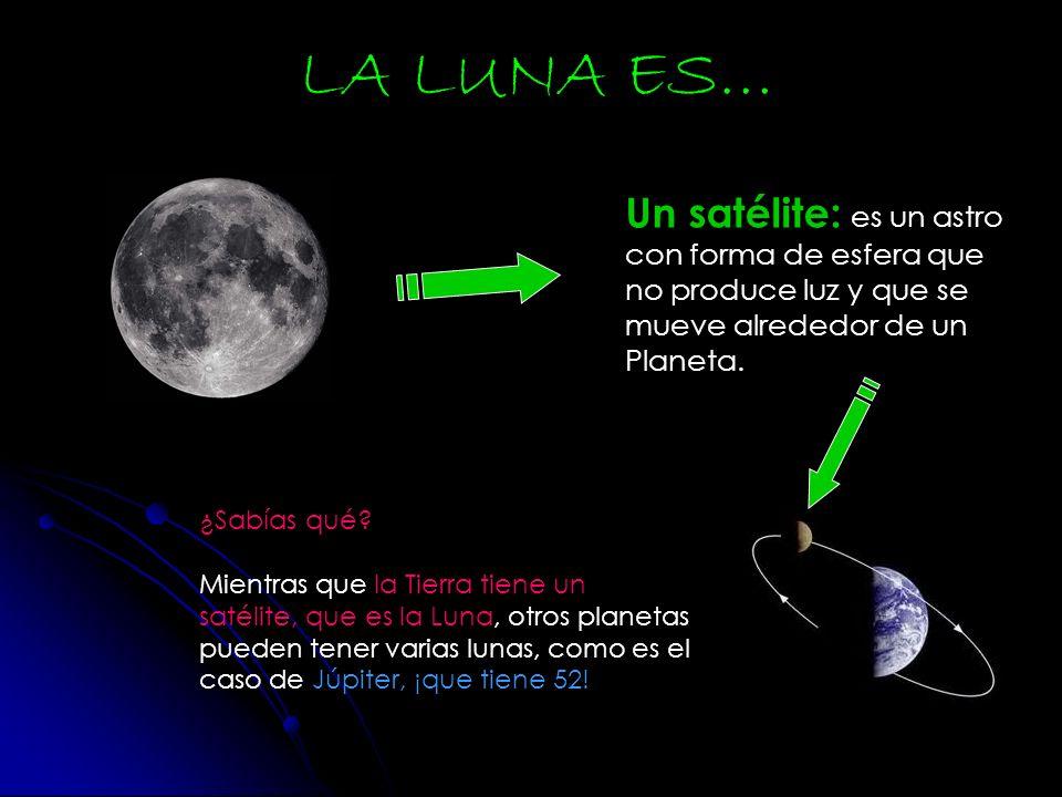 Un satélite: es un astro con forma de esfera que no produce luz y que se mueve alrededor de un Planeta. LA LUNA ES… ¿Sabías qué? Mientras que la Tierr