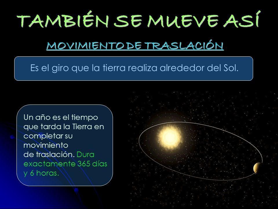 TAMBIÉN SE MUEVE ASÍ MOVIMIENTO DE TRASLACIÓN Es el giro que la tierra realiza alrededor del Sol. Un año es el tiempo que tarda la Tierra en completar