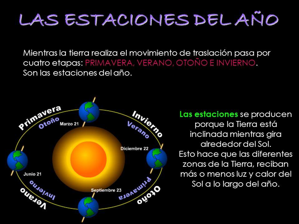 LAS ESTACIONES DEL AÑO Mientras la tierra realiza el movimiento de traslación pasa por cuatro etapas: PRIMAVERA, VERANO, OTOÑO E INVIERNO. Son las est