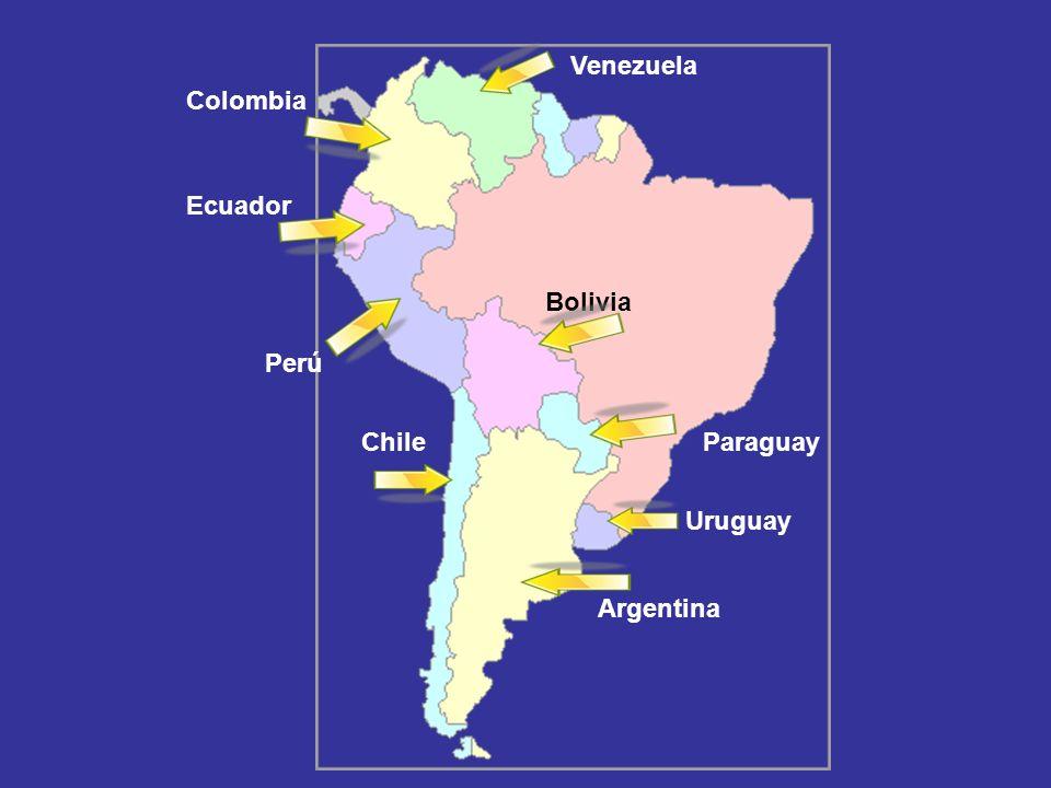 Argentina Uruguay ChileParaguay Bolivia Perú Ecuador Colombia Venezuela