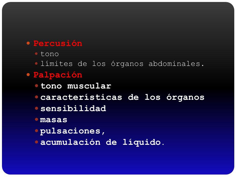 Percusión tono límites de los órganos abdominales. Palpación tono muscular características de los órganos sensibilidad masas pulsaciones, acumulación