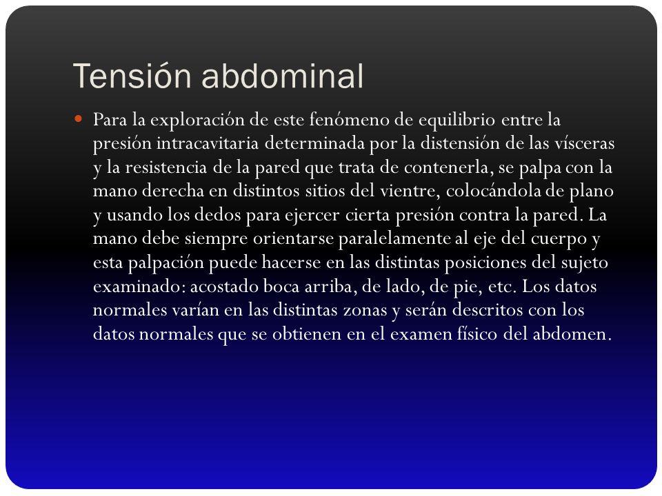 Tensión abdominal Para la exploración de este fenómeno de equilibrio entre la presión intracavitaria determinada por la distensión de las vísceras y l