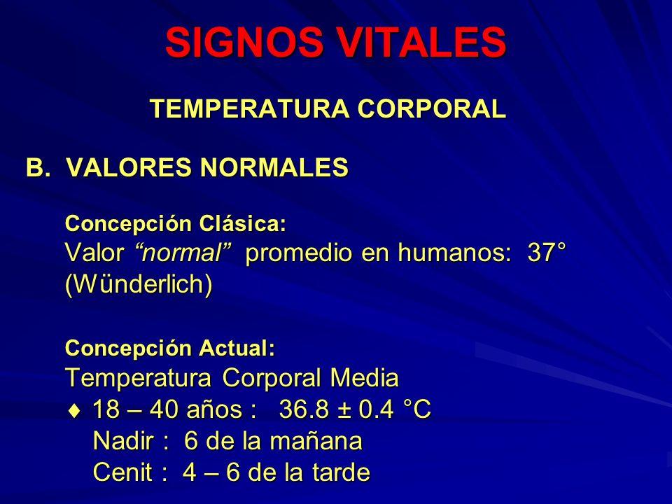 SIGNOS VITALES TEMPERATURA CORPORAL B. VALORES NORMALES Concepción Clásica: Valor normal promedio en humanos: 37° (Wünderlich) Concepción Actual: Temp