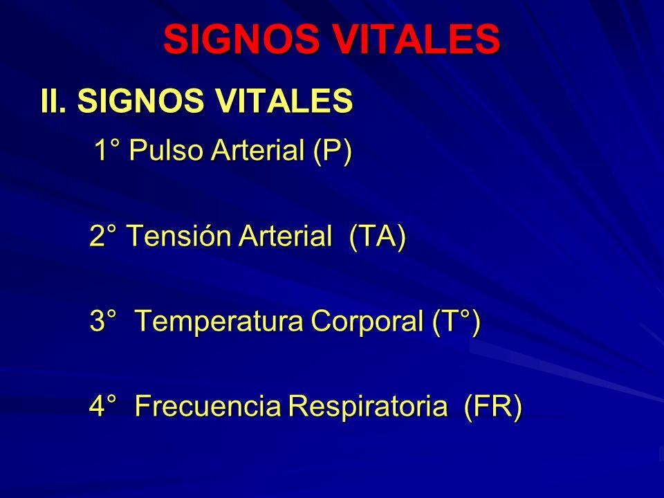 SIGNOS VITALES II. SIGNOS VITALES 1° Pulso Arterial (P) 1° Pulso Arterial (P) 2° Tensión Arterial (TA) 2° Tensión Arterial (TA) 3° Temperatura Corpora