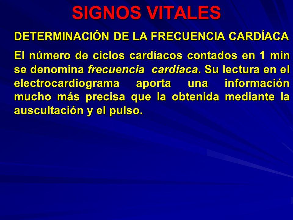 SIGNOS VITALES DETERMINACIÓN DE LA FRECUENCIA CARDÍACA El número de ciclos cardíacos contados en 1 min se denomina frecuencia cardíaca. Su lectura en