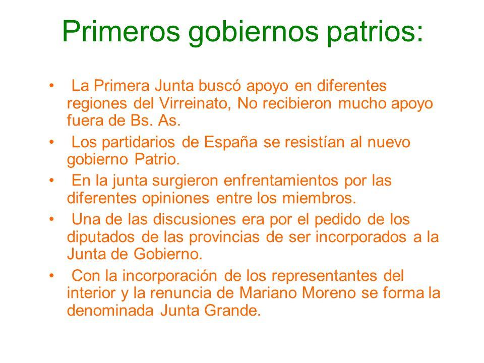 Primeros gobiernos patrios: La Primera Junta buscó apoyo en diferentes regiones del Virreinato, No recibieron mucho apoyo fuera de Bs. As. Los partida