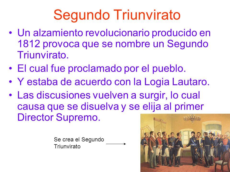 Segundo Triunvirato Un alzamiento revolucionario producido en 1812 provoca que se nombre un Segundo Triunvirato. El cual fue proclamado por el pueblo.