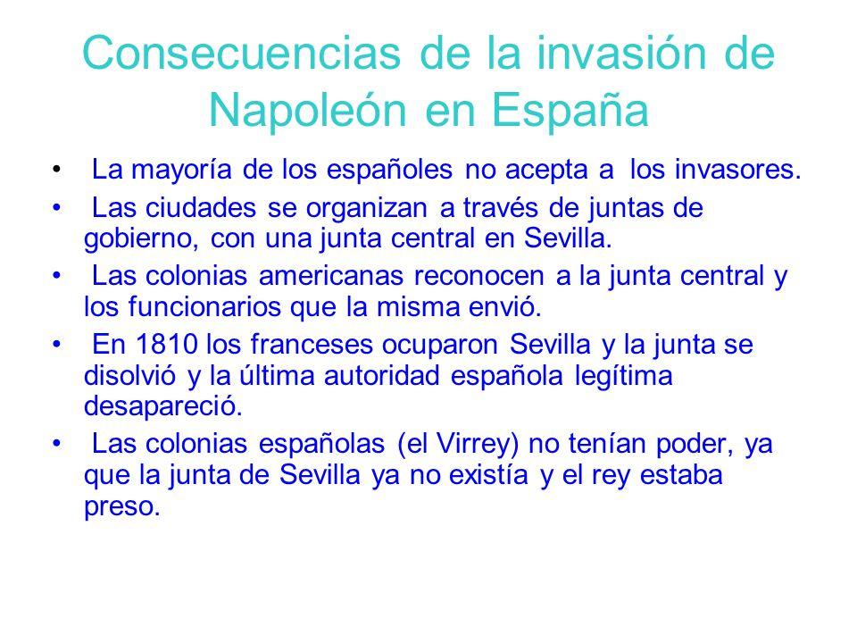 Consecuencias de la invasión de Napoleón en España La mayoría de los españoles no acepta a los invasores. Las ciudades se organizan a través de juntas