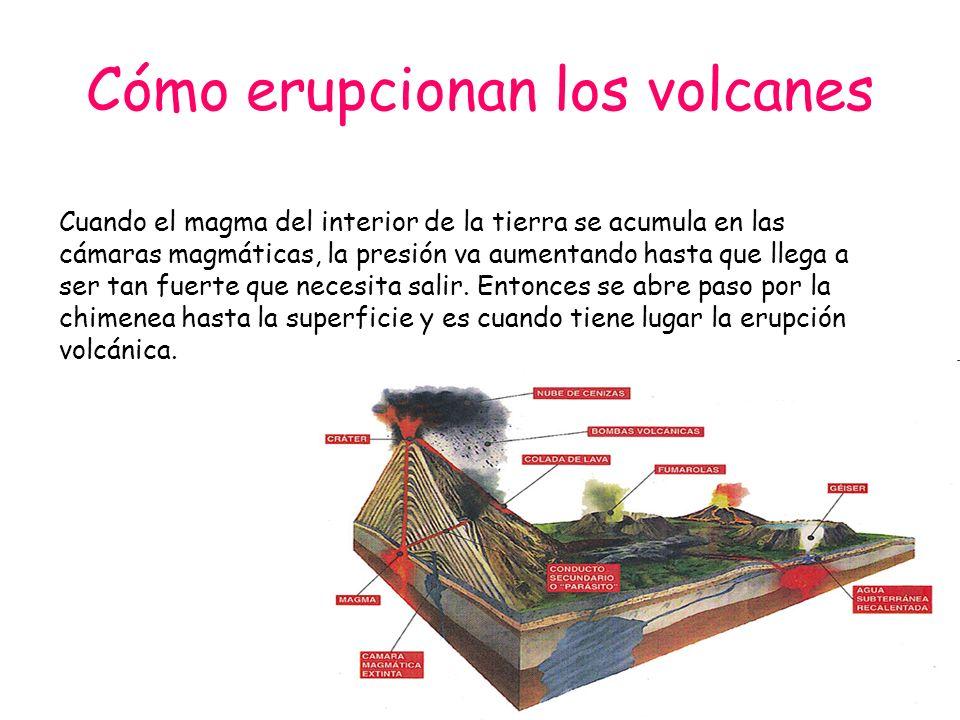 Cómo erupcionan los volcanes Cuando el magma del interior de la tierra se acumula en las cámaras magmáticas, la presión va aumentando hasta que llega